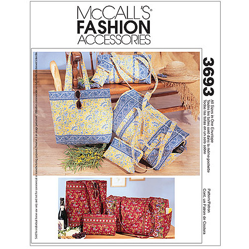 McCall's Pattern Duffle Bags, Make, Up Case, Tote Bag and Eyeglass Case, 1 Size Only