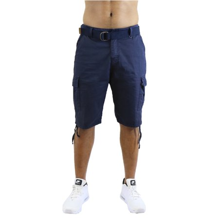 Mens Distressed Belted Cotton Cargo Shorts