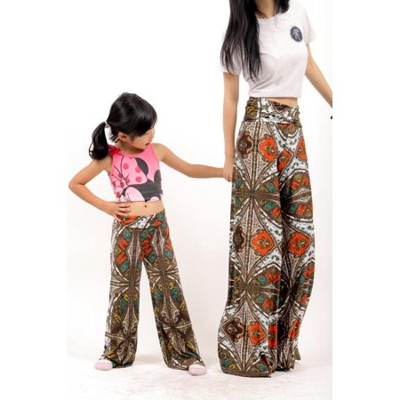 Uptown Apparel Mommy & Me Fold Over Waist Wide Leg Palazzo Pants, Available in WOMEN'S S-XXXL and KIDS' S-L - Good for tall, curvy women and 4-6 year-olds - MADE IN USA