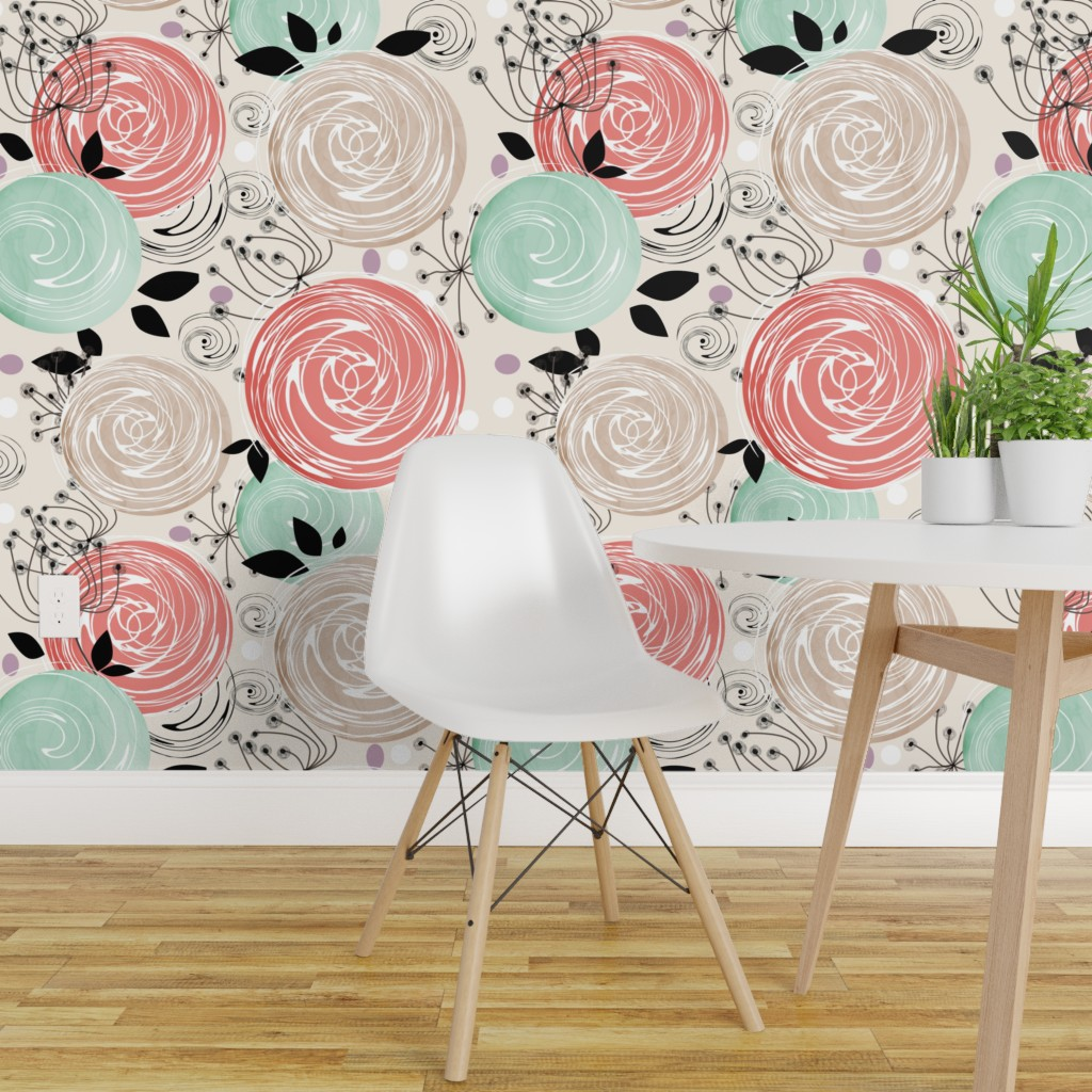 Peel And Stick Removable Wallpaper Floral Pattern Roses Pink Mint