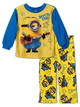 Despicable Me Boys' 2-Piece Fleece Pajama Set with Minion, Brothers Yellow, Size: 2T