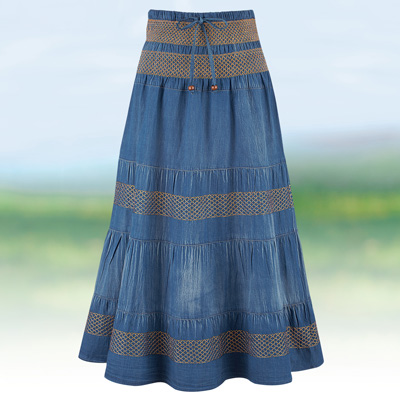 Women's Tiered A-Line Denim Boho Prairie Skirt, Denim, XX-Large
