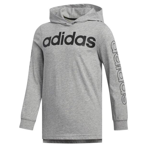 adidas Boys Kids Hooded Linear Long Sleeve Tee, Medium Grey Heather Size 5