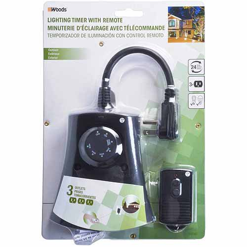 Woods By Coleman Cable Photoelectric Timer With Wireless Remote