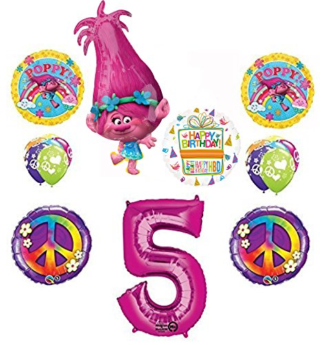 TROLLS 5th Birthday Party Supplies Poppy Peace Balloon Bouquet Decorations