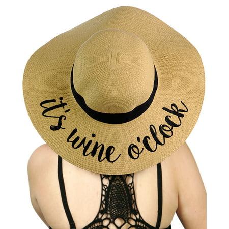 dd33e62533fb0d C.C - C.C Women's Paper Weaved Crushable Beach Embroidered Quote Floppy  Brim Sun Hat, It's Wine O'Clock - Walmart.com