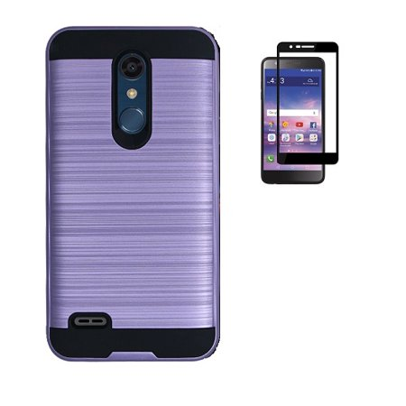 LG Phoenix Plus Case (AT&T), LG K30 Case (T-Mobile), LG Harmony 2 Case, Metallic Brushed Protective Case Cover for LG Premier Pro 4G LTE Prepaid Smartphone + Tempered