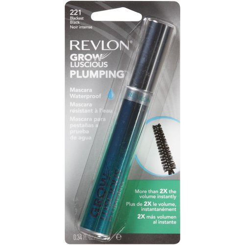 Revlon Grow Luscious Plumping Waterproof Mascara, 221 Blackest Black, 0.34 fl oz