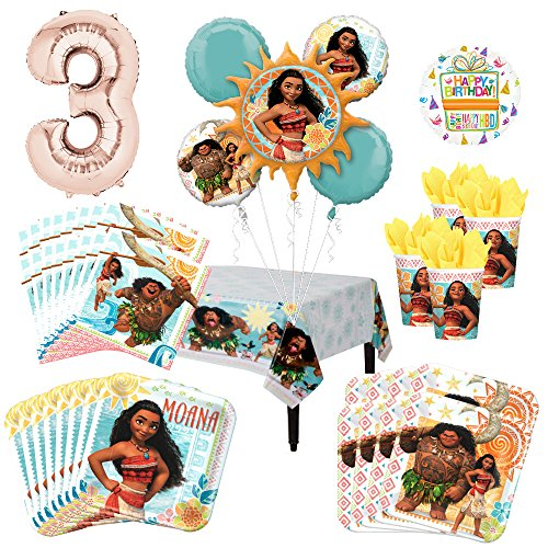 Moana Party Supplies 16 Guest Kit and 3rd Birthday Balloon Bouquet Decorations
