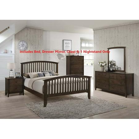 - 5 Piece Chestnut Brown Wood Queen Size Shaker Bedroom Set (Bed, Dresser & Mirror, Chest, Nightstand)