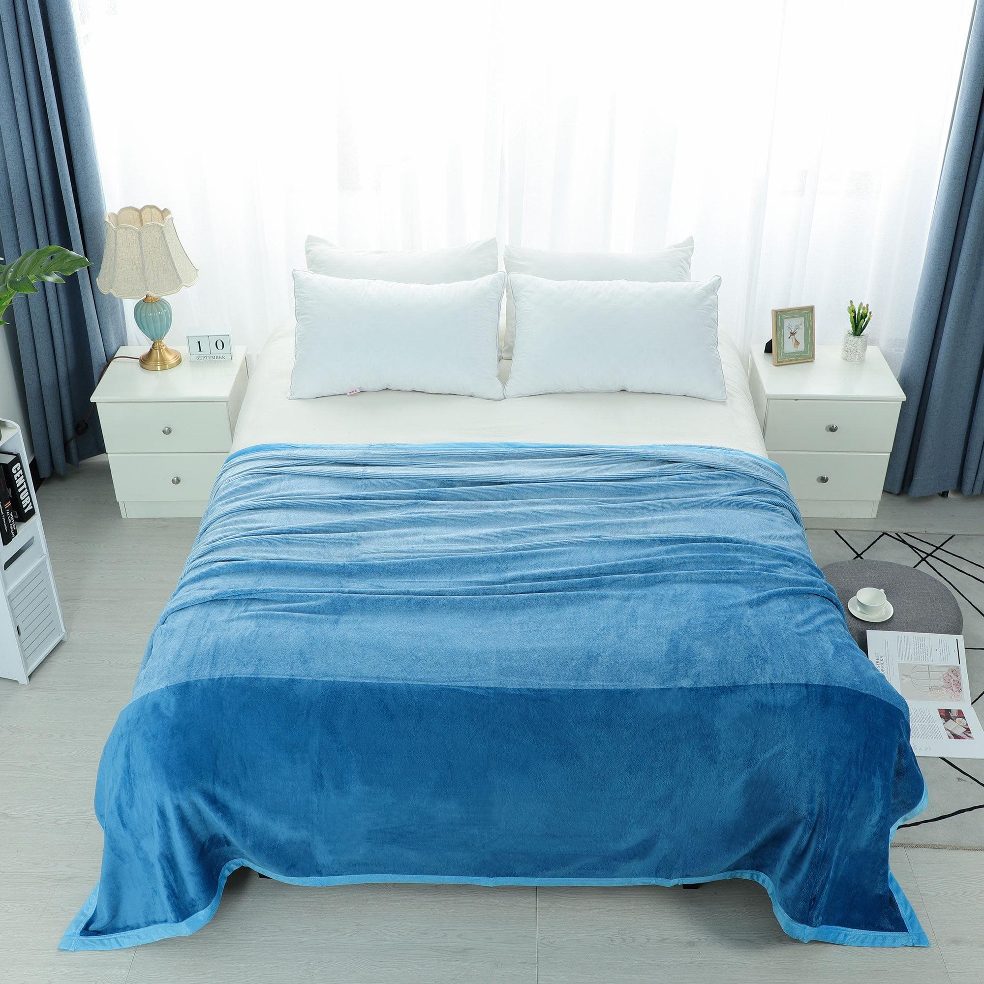 Flannel Fleece Blanket Soft Warm Microfiber Plush Solid Blankets Blue King