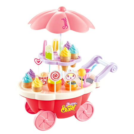 Cardboard Sweet Cart (Pink Candy Ice Cream Cart Electrical With Light And Music 39PCS Miniature Sweet Shop Trolley Pretend Role)