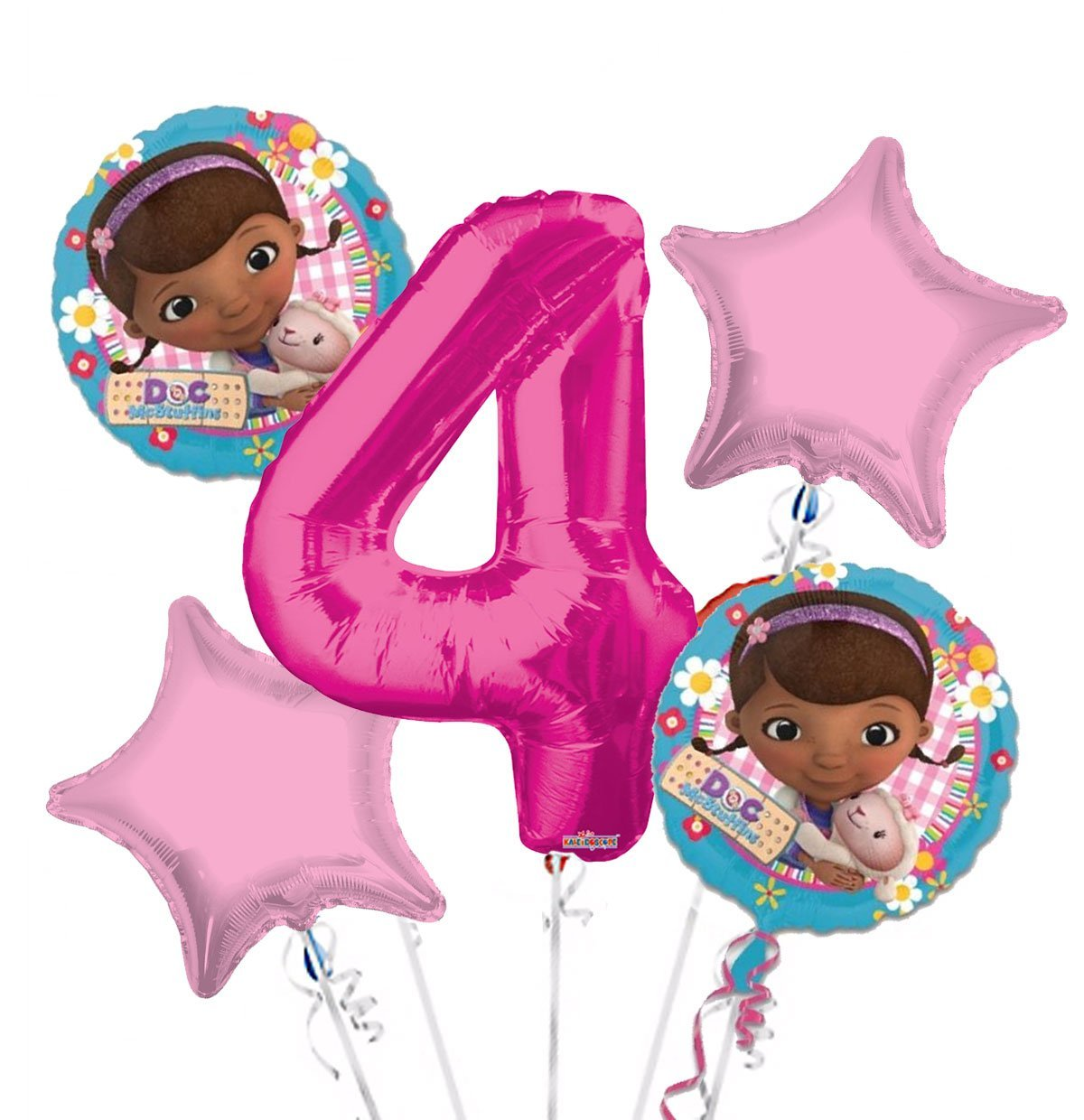 Doc McStuffins Balloon Bouquet 4th Birthday 5 pcs - Party Supplies, 1 Giant Number 4 Balloon, 34in By Viva Party