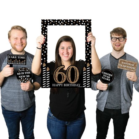 Adult 60th Birthday - Gold - Birthday Party Selfie Photo Booth ...