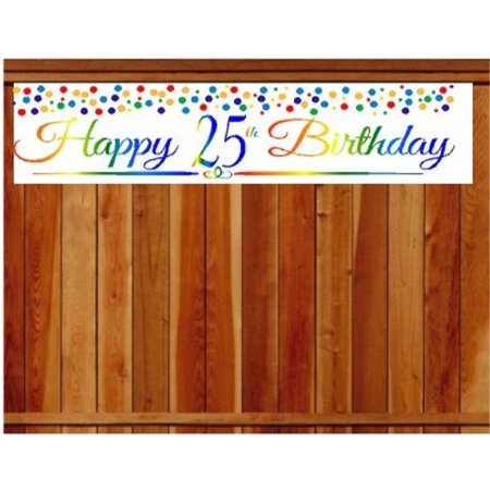 CakeSupplyShop Item#025RPB Happy 25th Birthday Rainbow Wall Decoration Indoor/Outdoor Party Banner (10 x 50inches)](Happy 25th Birthday Banners)