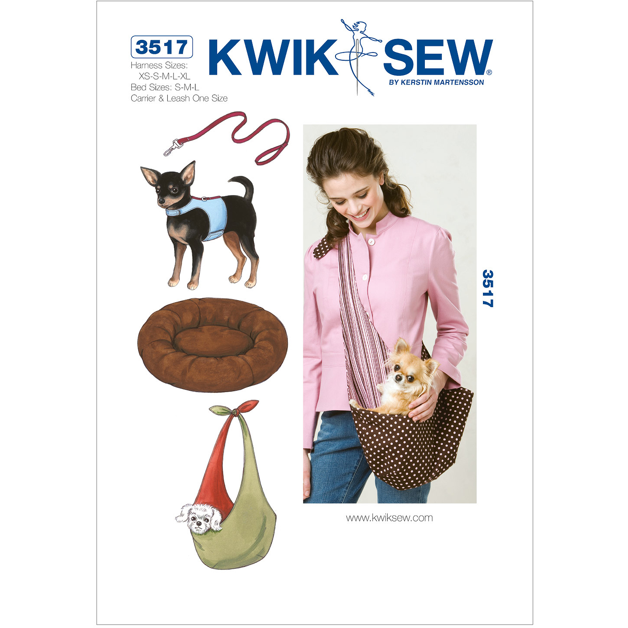 Kwik Sew Pattern Harness, Leash, Bed and Carrier, Harness: (XS, S, M, L, XL), Bed: (S, M, L)
