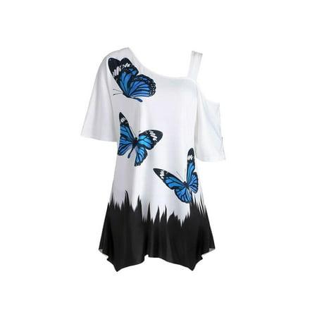 Women's One Shoulder Floral Short Sleeve T-Shirt ()