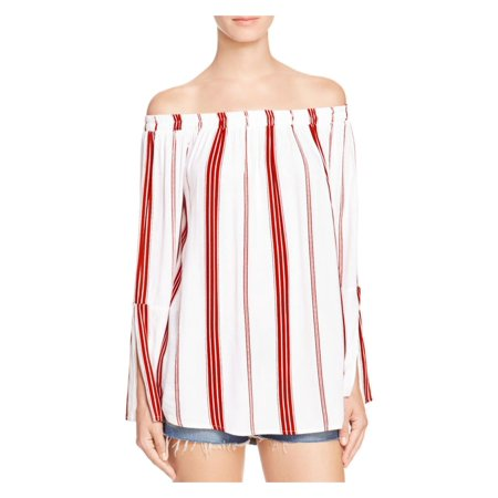 Faithfull the Brand Womens Striped Off-The-Shoulder Pullover Top White 6