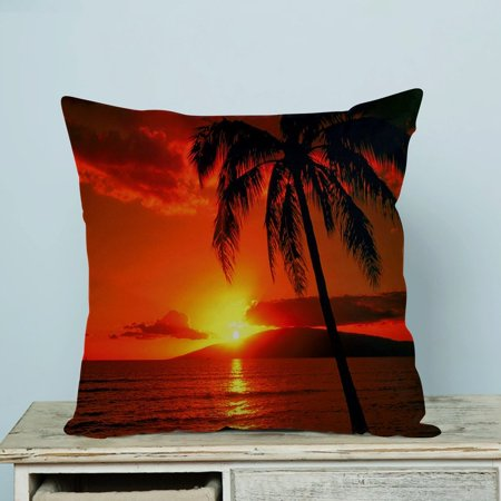 GCKG Hawaii Summer Beach Palm Tree Blue Sea Sunset Pillow Case Pillow Cover Pillow Protector Two Sides 20 x 20 (Blue Bottle Cap With Two Palm Trees)