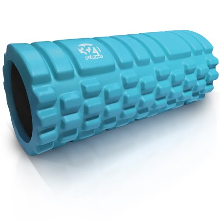 321 STRONG Medium Density Massaging Foam Roller for Myofascial Self Release and Deep Tissue Massage - Aqua (Foam Body Roller Massage)