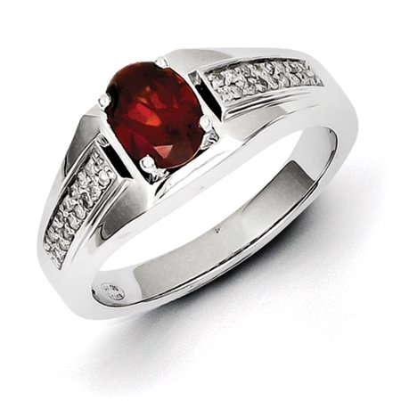 jewelryweb sterling silver garnet and diamond mens ring. Black Bedroom Furniture Sets. Home Design Ideas