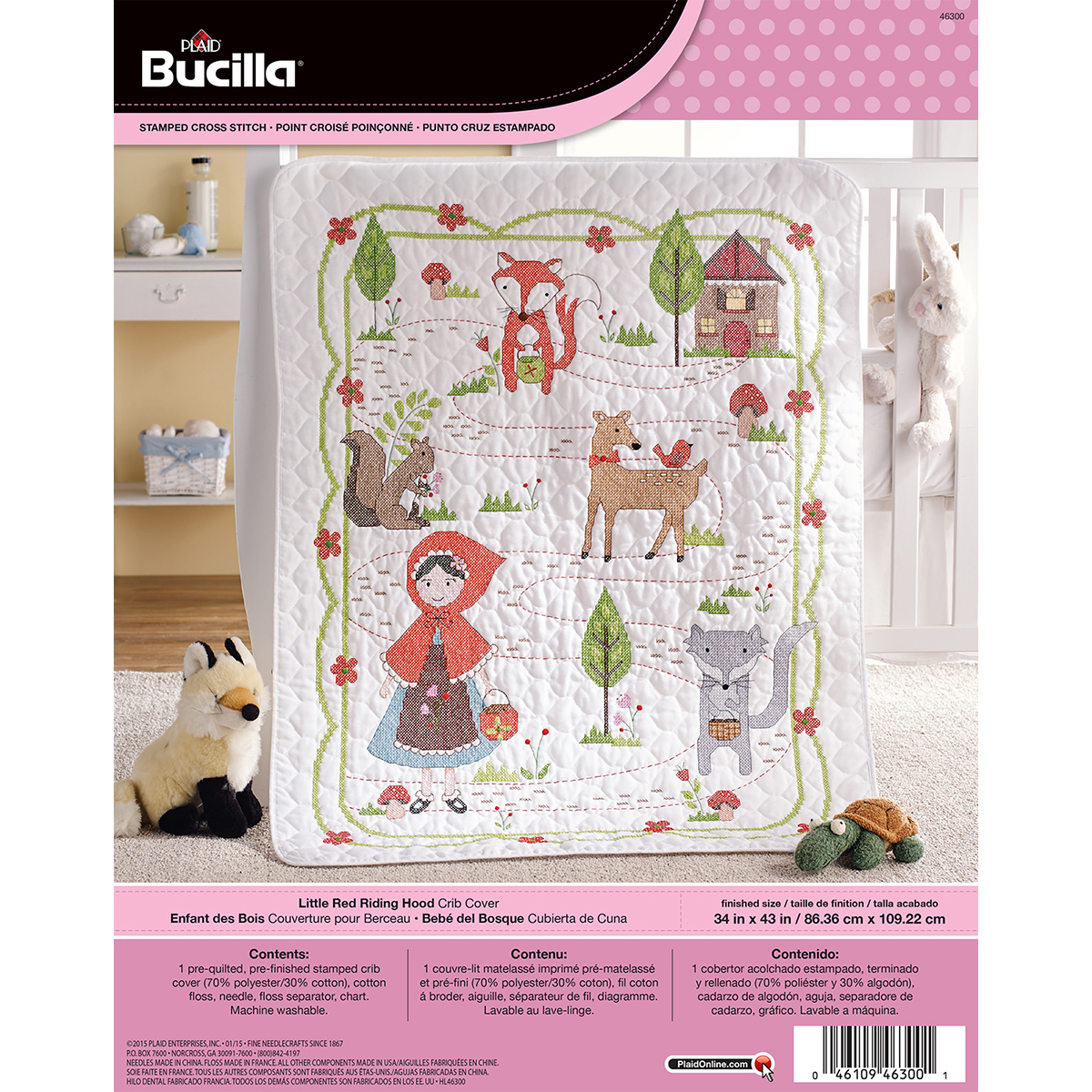 Little Red Riding Hood Crib Cover Stamped Cross Stitch Kit-34 Inch
