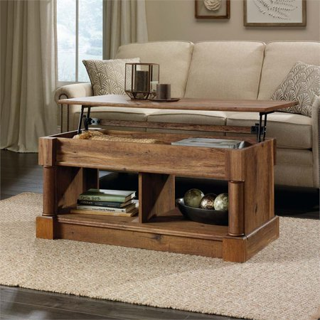 Mission Oak Living Room Table (Sauder Palladia Lift Top Coffee Table, Vintage Oak)