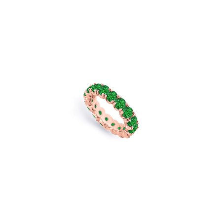 Created Green Emerald Eternity Bands of 4 CT. TGW. on 14K Rose Gold Vermeil (Floyd Rose Fine Tuners)
