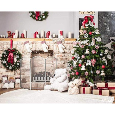 ABPHOTO Polyester Indoor Xmas Cloth Backdrops Photography Decorated Christmas Tree Green Pine Wreaths Candles Children Bear Toys Winter Holiday Family Background 7x5ft Candle Christmas Tree Lights