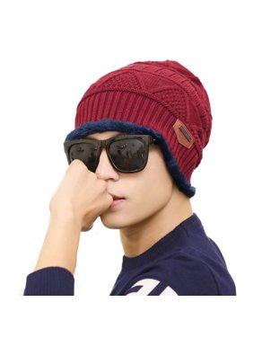 Men's Soft Stretch Knit Lined Thick Warm Ski Cap Winter Wool Slouchy Beanies Hat