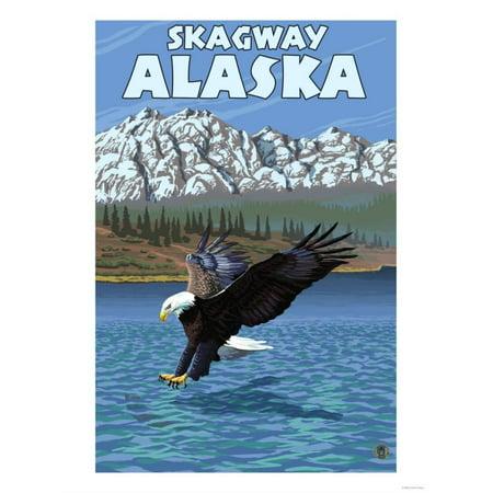 Alaska Eagle (Bald Eagle Diving, Skagway, Alaska Print Wall Art By Lantern Press )
