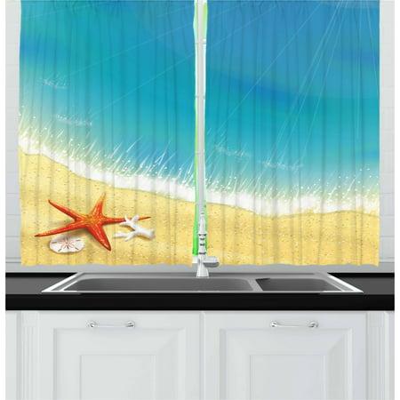 Sakura Caribbean Wave (Starfish Curtains 2 Panels Set, Seashore View Waves on Sandy Beach Caribbean Paradise Summer Season Illustration, Window Drapes for Living Room Bedroom, 55W X 39L Inches, Multicolor, by)