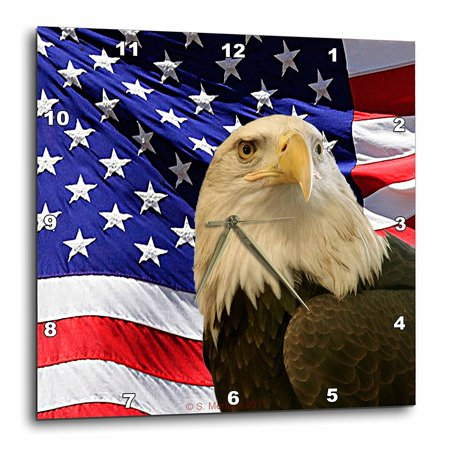 3dRose Bald Eagle and American Flag, Wall Clock, 15 by 15-inch Flag Wall Clock
