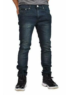 Indigo People Men's Denim Jeans Skinny Fit Tapered Leg 28023 Blue 38x32
