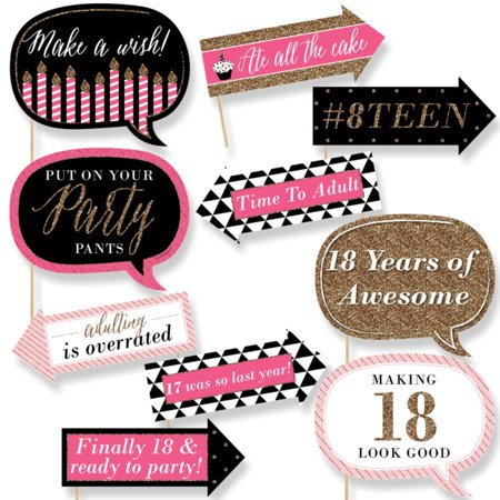 Funny Chic 18th Birthday - Pink, Black and Gold - 18th Birthday Party Photo Booth Props Kit - 10 Count (Gold And Black Theme)