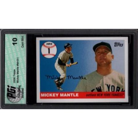 2005 Topps Mickey Mantle 1st HR card Yankees PGI (Mickey Mantle 1952 Topps Rookie Card Value)