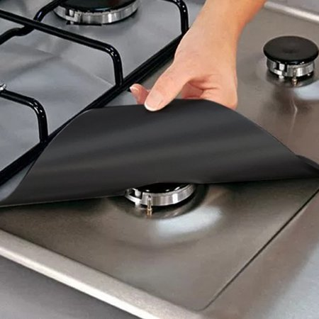 Stove Burner Covers - Gas Stove Protectors Black 0.2mm Double Thickness, Reusable, Non-Stick, Fast Clean Liners for Kitchen/Cooking. Size 10.6