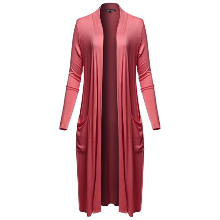 - FashionOutfit Women's Long Sleeve Side Pockets Midi Length Open Front Cardigan
