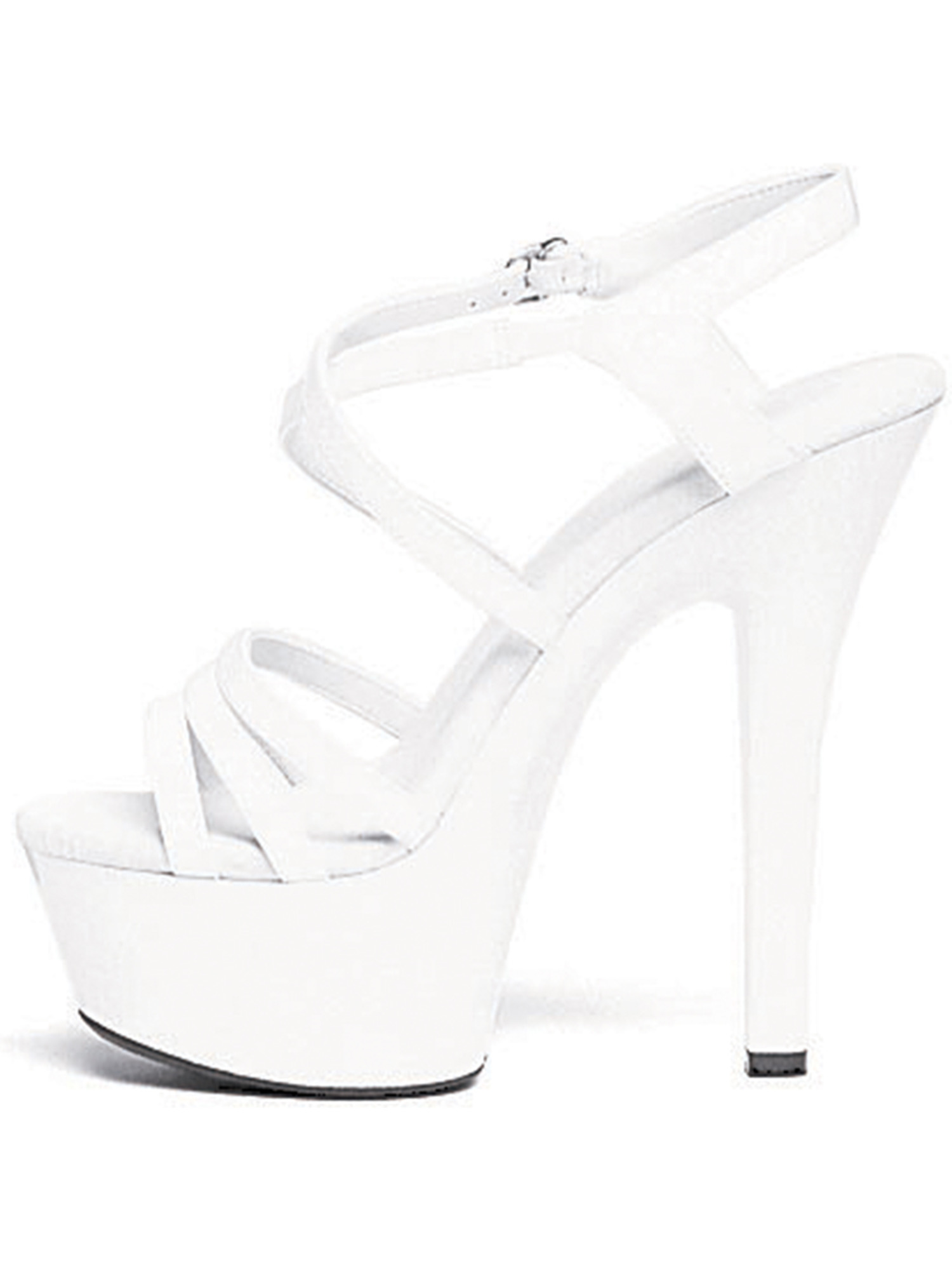 6 Inch Women's Sexy Strappy Shoes Mid Platform Sandals Black White