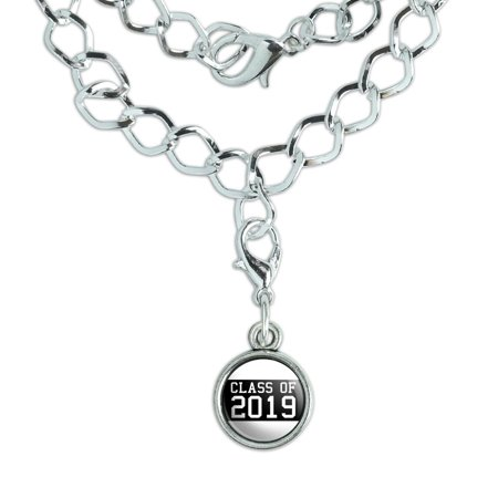 Class of 2019 Graduation Silver Plated Bracelet with Antiqued Charm