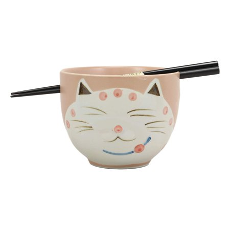 Ebros Whimsical Ceramic Peachy Pink Lucky Meow Cat Pasta Ramen Udong Pho Noodles Soup Bowl and Chopsticks Set Dining Gourmet Meal Feline Cats Collection Rice Bowls Decor (Meow Cat Bowl)