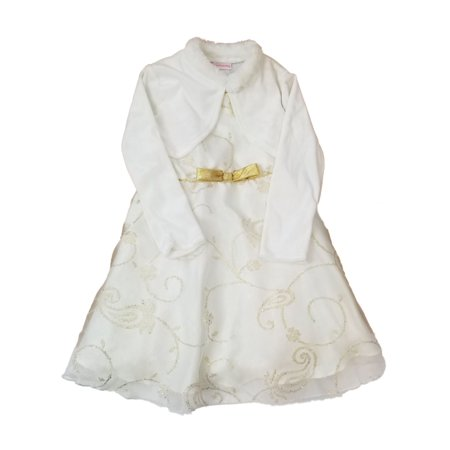 Infant Toddler White Gold Tulle Fancy Christmas Holiday Party Dress Cardigan (70's 80's Fancy Dress Costumes)