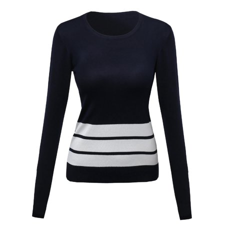 (FashionOutfit Women's Contemporary Casual Viscose Nylon Textured Stripe Sweater)