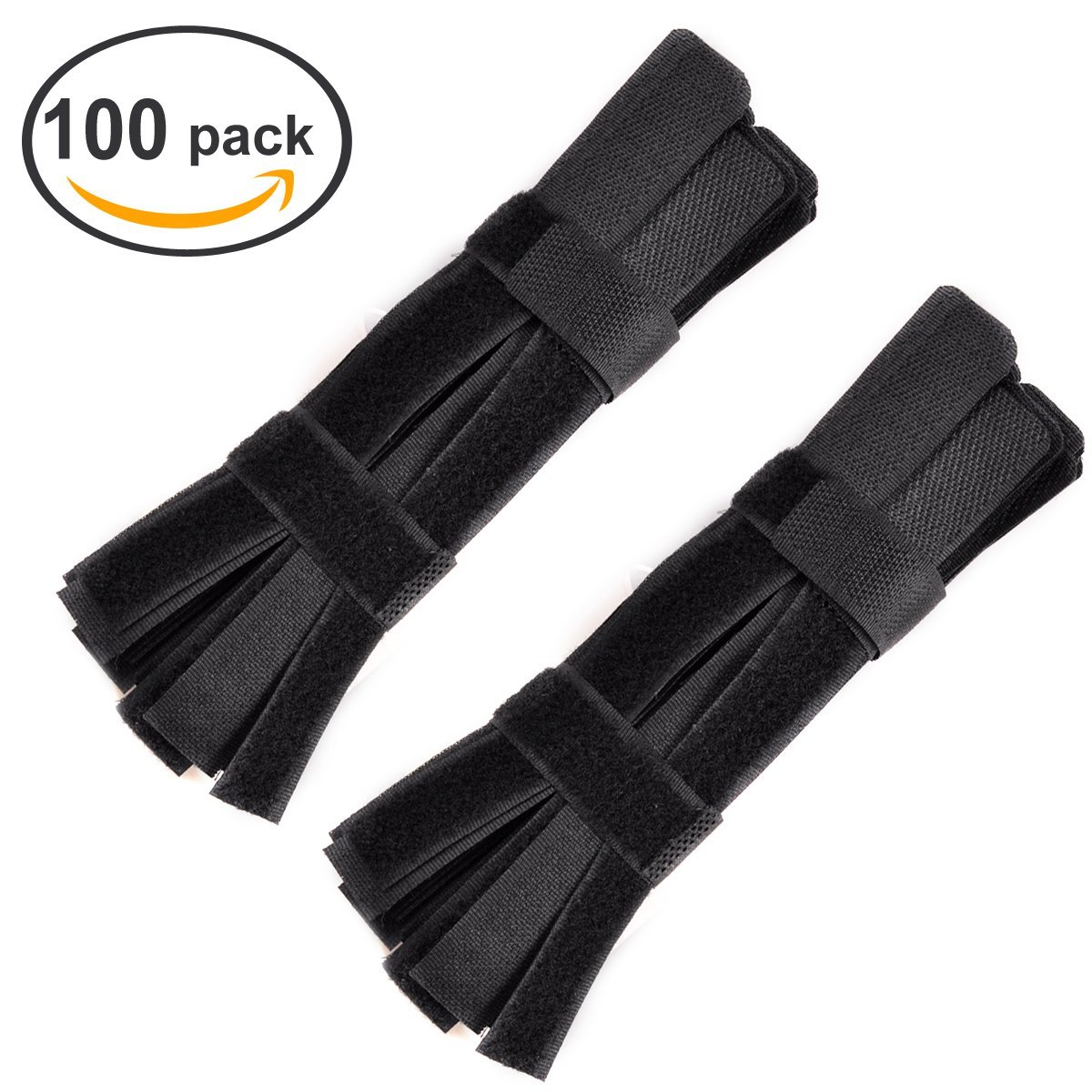 eZAKKA Velcro Cable Ties Straps Hook and Loop Tape Fastening Wires Black,100-Pack