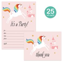 Little Girl Birthday Party Invitations ( 25 ) & Thank You Cards ( 25 ) Matched Set with Envelopes Cute Pink Unicorn Castle Daughter Child Kids Fill-in Invites & Folded Thank You Notes VS0043S
