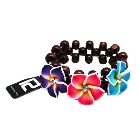 Purple Pink and Blue Colored Tropical Flower Braclet With Brown Beads ()