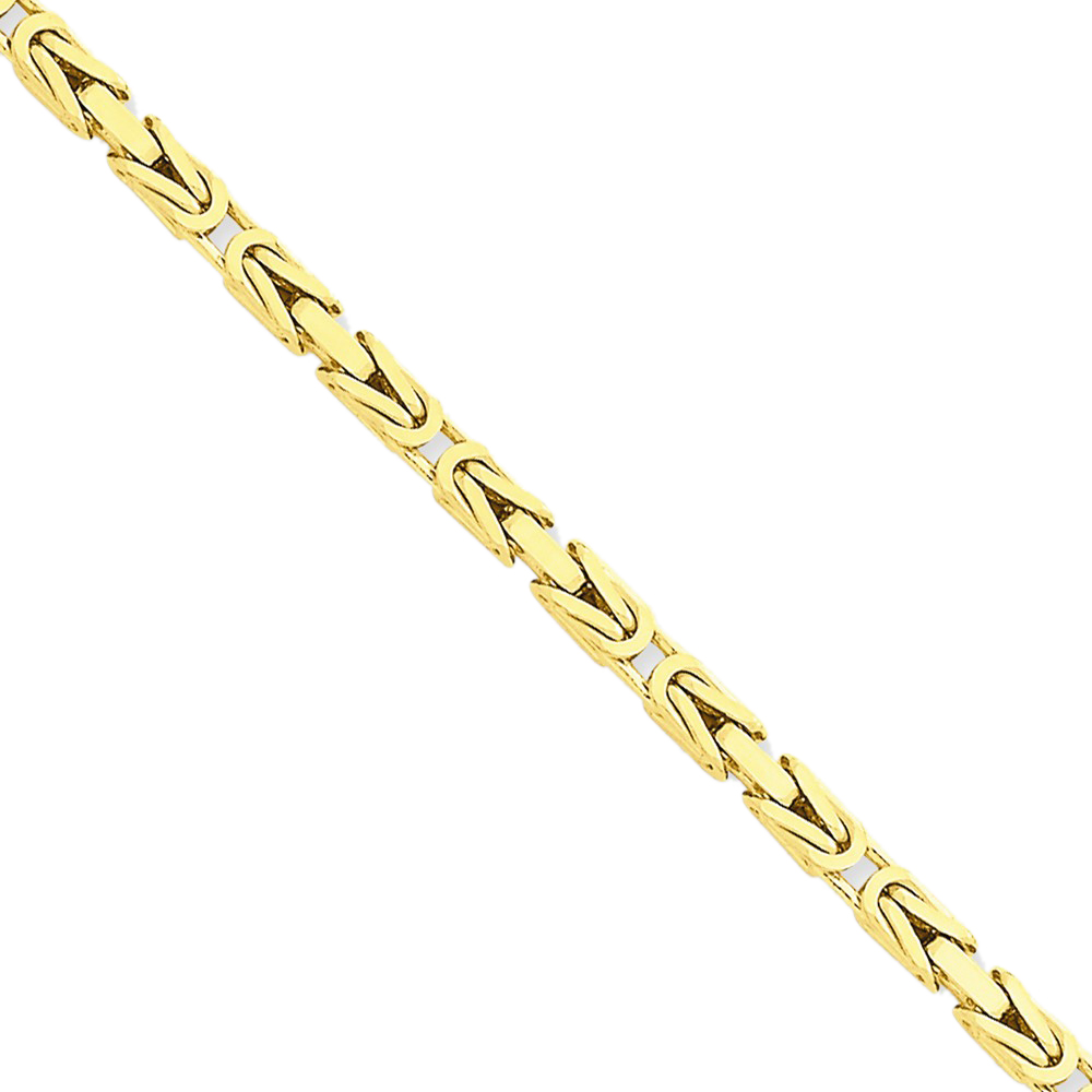 14K Yellow Gold 2.5mm Wide Byzantine Chain Necklace