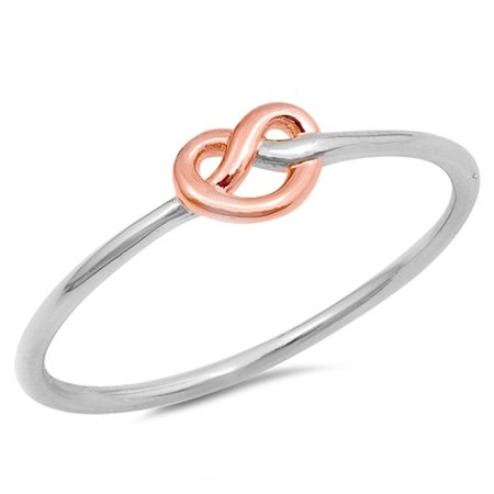 Silver Sparkle Hearts - CHOOSE YOUR COLOR Rose Gold-Tone Heart Love Knot Ring New .925 Sterling Silver Band