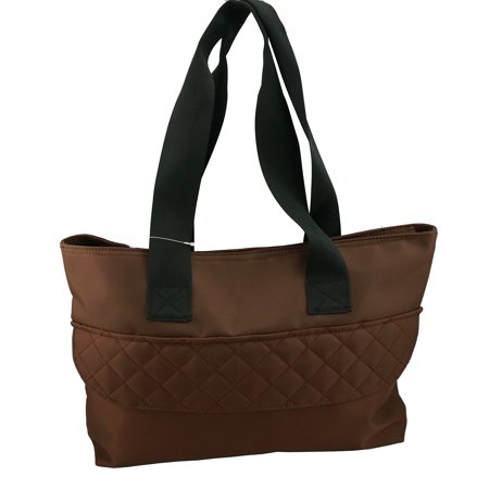 Woman Tote Bag Large Microfiber Handbag Quilt Design Diaper Bag Messenger Shoulder Bag, Brown