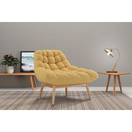 Modern Linen Upholstered Lounge Accent Chair, Yellow ()